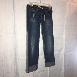 NWT Dex 24 Waist Straight Leg Roll Up Crop Jeans